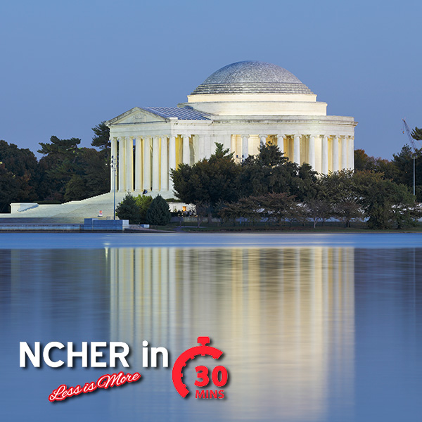 Jefferson Memorial at dusk with NCHER in 30 Logo