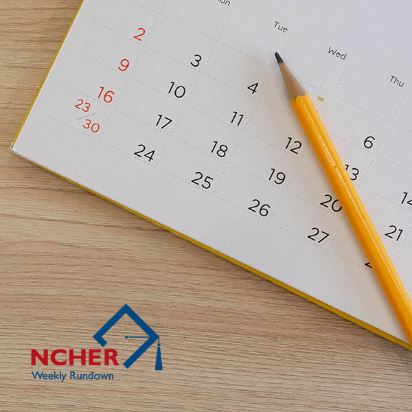 NCHER Weekly Rundown Logo over calendar with pencil.
